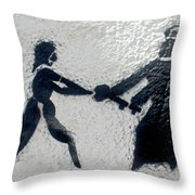 Graffiti Art In Black And White Along Streets Of Valparaiso-chile Throw Pillow