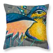 Graffiti Art Of A Colorful Bird Along Street IIn Hilly Valparaiso-chile Throw Pillow