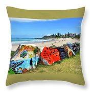 Graffiti At The Beach Throw Pillow