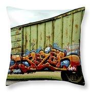 Graffiti Boxcar Throw Pillow by Danielle Allard