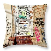 Graffiti Doorway New Orleans Throw Pillow
