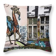 Graffiti On Wall At Metelkova City Autonomous Cultural Center Sq Throw Pillow