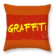 Graffiti Red Wall Throw Pillow