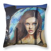 Graffiti Street Art Mural Around Melrose Avenue In Los Angeles, California  Throw Pillow