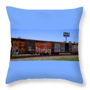Graffiti Train With Billboard Throw Pillow