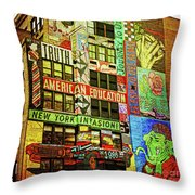 Graffitti On New York City Building Throw Pillow