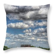 Grain Barn And Barley Field Throw Pillow