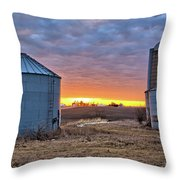 Grain Bin Sunset 2 Throw Pillow