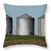 Grain Bins In A Row Throw Pillow