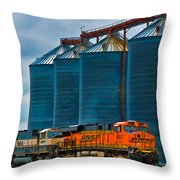 Grain Silos And Bnsf Train Throw Pillow