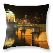 Gran Madre Church By Night In Turin, Italy Throw Pillow