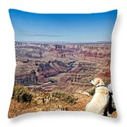 Grand Canyon Girl And Dog Throw Pillow