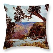 Grand Canyon National Park - Winter On South Rim Throw Pillow