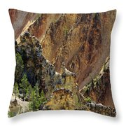 Grand Canyon Of The Yellowstone From North Rim Drive Throw Pillow