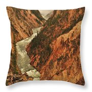Grand Canyon Of The Yellowstone Vertical Panorama Throw Pillow
