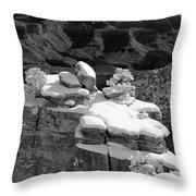 Grand Canyon Snow Black And White Photo Throw Pillow