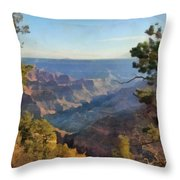Grand Canyon View With Trees Throw Pillow