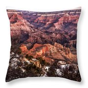 Grand Canyon Winter Sunrise Landscape At Yaki Point Throw Pillow