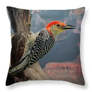 Grand Canyon Woodpecker Throw Pillow