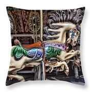 Grand Carousel Hourse Throw Pillow