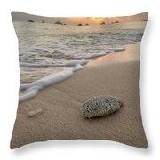 Grand Cayman Beach Coral At Sunset Throw Pillow