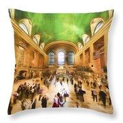 Grand Central Rush     Go2 Throw Pillow