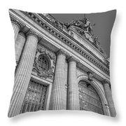 Grand Central Terminal - Chrysler Building Bw Throw Pillow