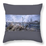 Grand Haven Channel With Winter Waves  Throw Pillow