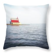 Grand Haven Lighthouse From North Pier Throw Pillow