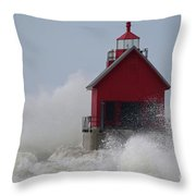 Grand Haven Lighthouse Throw Pillow