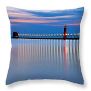 Grand Haven Pier Lights At Night Throw Pillow
