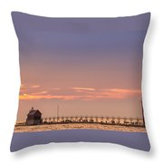Grand Haven South Pier Lighthouse  Throw Pillow