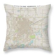 Grand Island Nebraska Us City Street Map Throw Pillow