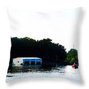 Grand Lake Boat Dock Throw Pillow