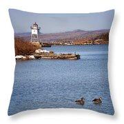 Grand Marais Breakwater Lights Throw Pillow