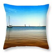 Grand Marais Harbor Throw Pillow