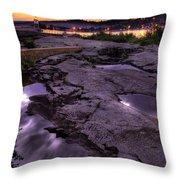Grand Marais Lighthouse At Sunset Throw Pillow