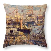 Grand Quai At Havre Throw Pillow