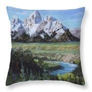Grand Teton And Snake River Throw Pillow