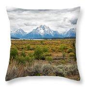 Grand Teton Mountains Panorama Throw Pillow