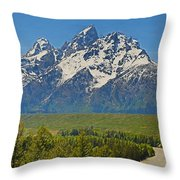 Grand Teton National Park And Snake River Throw Pillow