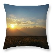 Grand Teton Open Plains Sunset Throw Pillow