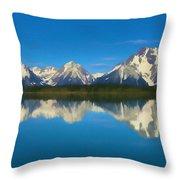 Grand Teton Reflection Wood Texture Throw Pillow