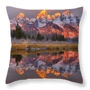 Grand Teton Snake River Sunrise Reflections Throw Pillow