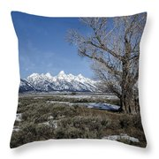 Grand Tetons From Gros Ventre Throw Pillow