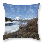 Grand Tetons From Oxbow Bend At A Distance Throw Pillow