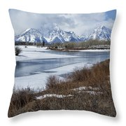 Grand Tetons From Oxbow Bend Throw Pillow