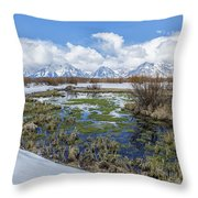 Grand Tetons From Willow Flats In Early April Throw Pillow