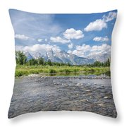 Grand Tetons On A Sunny Day Throw Pillow by Margaret Pitcher