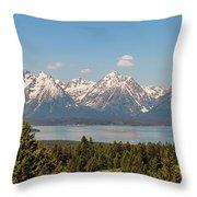 Grand Tetons Over Jackson Lake Panorama Throw Pillow